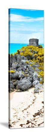 ¡Viva Mexico! Panoramic Collection - Tulum Ruins along Caribbean Coastline III-Philippe Hugonnard-Stretched Canvas Print