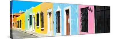 ¡Viva Mexico! Panoramic Collection - Campeche Colorful Street V-Philippe Hugonnard-Stretched Canvas Print