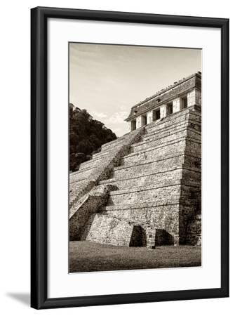 ¡Viva Mexico! B&W Collection - Mayan Temple of Inscriptions II - Palenque-Philippe Hugonnard-Framed Photographic Print