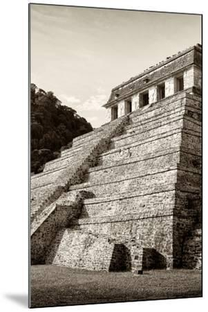 ¡Viva Mexico! B&W Collection - Mayan Temple of Inscriptions II - Palenque-Philippe Hugonnard-Mounted Photographic Print