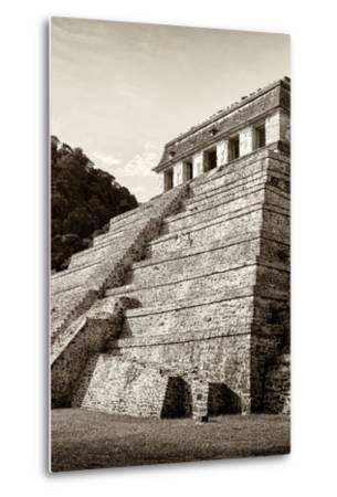 ¡Viva Mexico! B&W Collection - Mayan Temple of Inscriptions II - Palenque-Philippe Hugonnard-Metal Print
