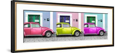 ¡Viva Mexico! Panoramic Collection - Three VW Beetle Cars with Colors Street Wall XII-Philippe Hugonnard-Framed Photographic Print