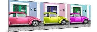 ¡Viva Mexico! Panoramic Collection - Three VW Beetle Cars with Colors Street Wall XII-Philippe Hugonnard-Mounted Photographic Print