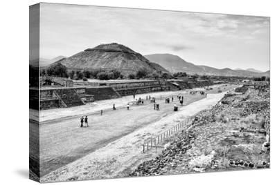 ¡Viva Mexico! B&W Collection - Teotihuacan Pyramids-Philippe Hugonnard-Stretched Canvas Print