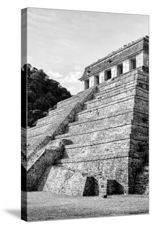 ?Viva Mexico! B&W Collection - Mayan Temple of Inscriptions III - Palenque-Philippe Hugonnard-Stretched Canvas Print