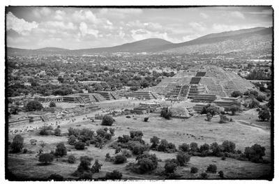 ¡Viva Mexico! B&W Collection - Teotihuacan Pyramids V-Philippe Hugonnard-Framed Photographic Print