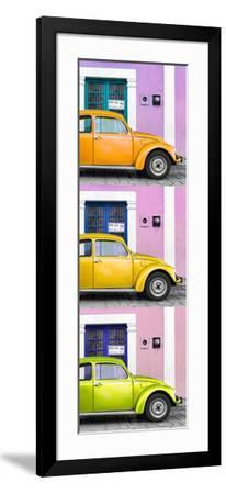 ¡Viva Mexico! Panoramic Collection - Three VW Beetle Cars with Colors Street Wall XXXIII-Philippe Hugonnard-Framed Photographic Print