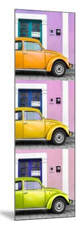 ¡Viva Mexico! Panoramic Collection - Three VW Beetle Cars with Colors Street Wall XXXIII-Philippe Hugonnard-Mounted Photographic Print
