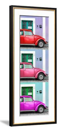 ¡Viva Mexico! Panoramic Collection - Three VW Beetle Cars with Colors Street Wall XXX-Philippe Hugonnard-Framed Photographic Print