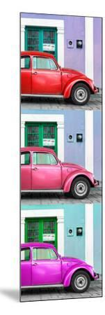 ¡Viva Mexico! Panoramic Collection - Three VW Beetle Cars with Colors Street Wall XXX-Philippe Hugonnard-Mounted Photographic Print