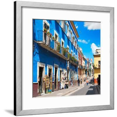 ¡Viva Mexico! Square Collection - Blue Street in Guanajuato-Philippe Hugonnard-Framed Photographic Print