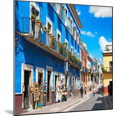 ¡Viva Mexico! Square Collection - Blue Street in Guanajuato-Philippe Hugonnard-Mounted Photographic Print