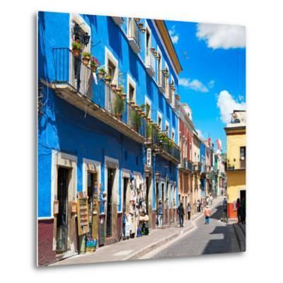 ¡Viva Mexico! Square Collection - Blue Street in Guanajuato-Philippe Hugonnard-Metal Print