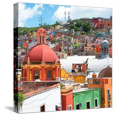 ¡Viva Mexico! Square Collection - Guanajuato Colorful City V-Philippe Hugonnard-Stretched Canvas Print