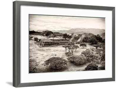 ¡Viva Mexico! B&W Collection - Monte Alban Pyramids VII-Philippe Hugonnard-Framed Photographic Print