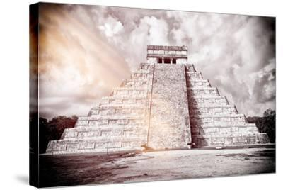 ?Viva Mexico! B&W Collection - Chichen Itza Pyramid XII-Philippe Hugonnard-Stretched Canvas Print