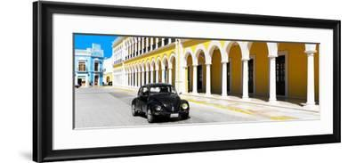 ¡Viva Mexico! Panoramic Collection - Black VW Beetle and Yellow Architecture-Philippe Hugonnard-Framed Photographic Print