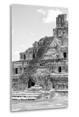 ?Viva Mexico! B&W Collection - Maya Archaeological Site V - Campeche-Philippe Hugonnard-Metal Print