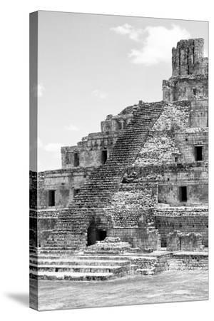 ?Viva Mexico! B&W Collection - Maya Archaeological Site V - Campeche-Philippe Hugonnard-Stretched Canvas Print