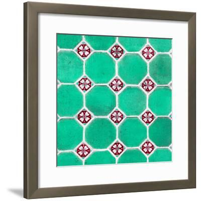 ¡Viva Mexico! Square Collection - Mosaics Coral Green Bricks-Philippe Hugonnard-Framed Photographic Print