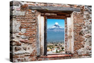 ?Viva Mexico! Window View - Popocatepetl Volcano in Puebla-Philippe Hugonnard-Stretched Canvas Print