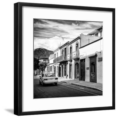 ¡Viva Mexico! Square Collection - Oaxaca Street with Yellow Taxi II-Philippe Hugonnard-Framed Photographic Print