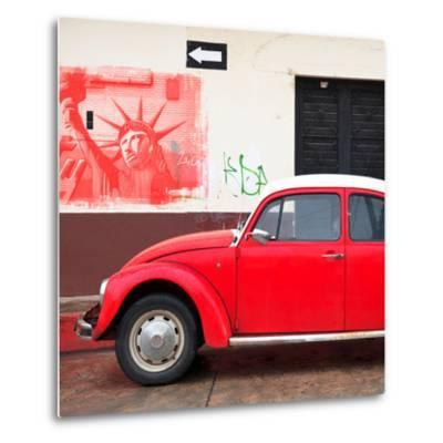 ¡Viva Mexico! Square Collection - Red VW Beetle Car and American Graffiti-Philippe Hugonnard-Metal Print
