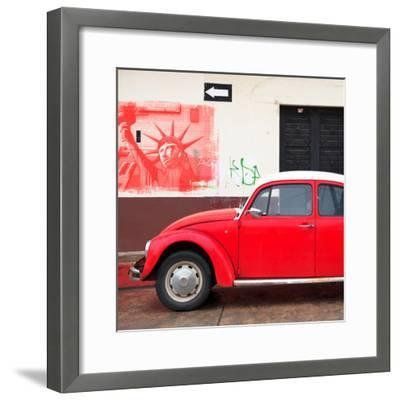 ¡Viva Mexico! Square Collection - Red VW Beetle Car and American Graffiti-Philippe Hugonnard-Framed Photographic Print