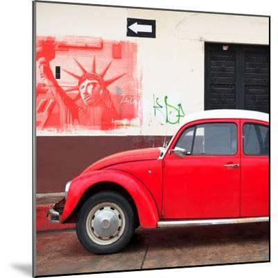 ¡Viva Mexico! Square Collection - Red VW Beetle Car and American Graffiti-Philippe Hugonnard-Mounted Photographic Print