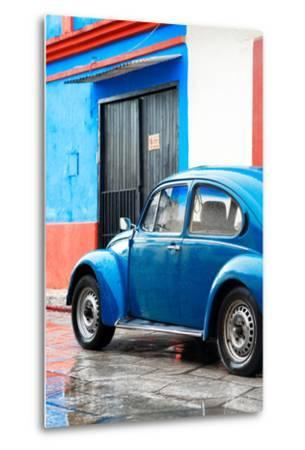 ¡Viva Mexico! Collection - VW Beetle Car and Blue Wall-Philippe Hugonnard-Metal Print