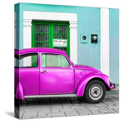 ¡Viva Mexico! Square Collection - The Deep Pink VW Beetle Car with Turquoise Street Wall-Philippe Hugonnard-Stretched Canvas Print