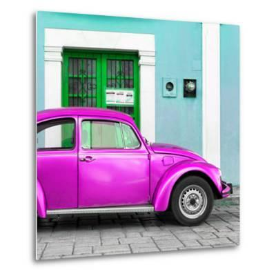 ¡Viva Mexico! Square Collection - The Deep Pink VW Beetle Car with Turquoise Street Wall-Philippe Hugonnard-Metal Print