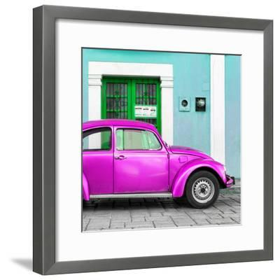 ¡Viva Mexico! Square Collection - The Deep Pink VW Beetle Car with Turquoise Street Wall-Philippe Hugonnard-Framed Photographic Print