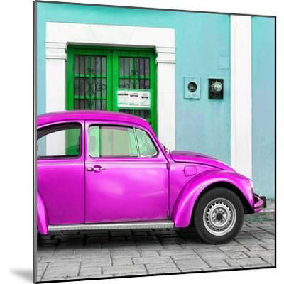 ¡Viva Mexico! Square Collection - The Deep Pink VW Beetle Car with Turquoise Street Wall-Philippe Hugonnard-Mounted Photographic Print