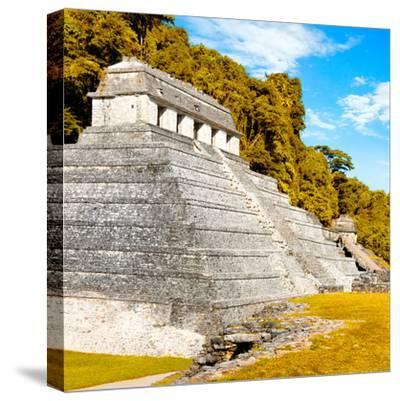 ¡Viva Mexico! Square Collection - Temple of Inscriptions in Palenque III-Philippe Hugonnard-Stretched Canvas Print