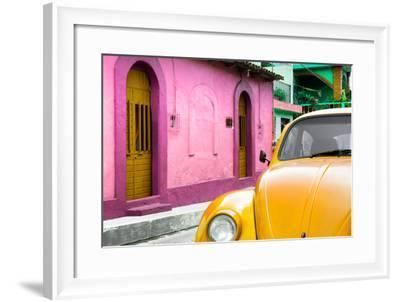 ¡Viva Mexico! Collection - Yellow VW Beetle Car and Colorful House-Philippe Hugonnard-Framed Photographic Print