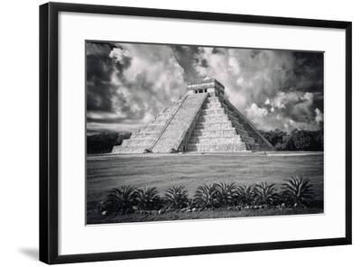 ?Viva Mexico! B&W Collection - El Castillo Pyramid VI - Chichen Itza-Philippe Hugonnard-Framed Photographic Print