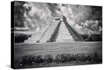 ?Viva Mexico! B&W Collection - El Castillo Pyramid VI - Chichen Itza-Philippe Hugonnard-Stretched Canvas Print