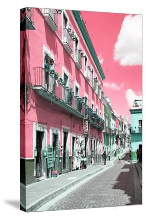 ?Viva Mexico! Collection - Pink Street Scene - Guanajuato-Philippe Hugonnard-Stretched Canvas Print