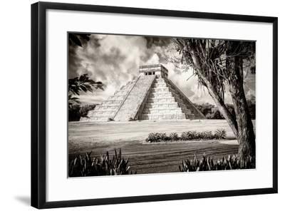 ?Viva Mexico! B&W Collection - El Castillo Pyramid XII - Chichen Itza-Philippe Hugonnard-Framed Photographic Print
