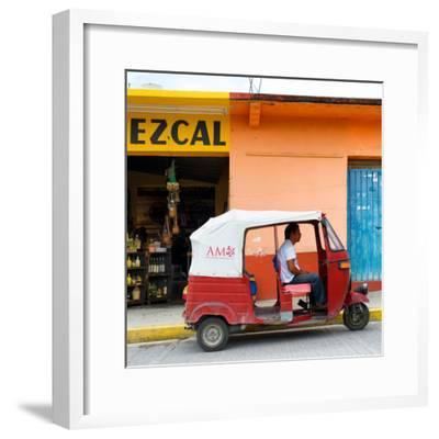 ¡Viva Mexico! Square Collection - Red Tuk Tuk-Philippe Hugonnard-Framed Photographic Print