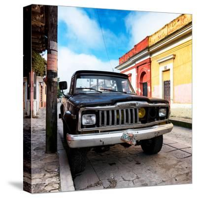 ¡Viva Mexico! Square Collection - Old Jeep in the street of San Cristobal-Philippe Hugonnard-Stretched Canvas Print