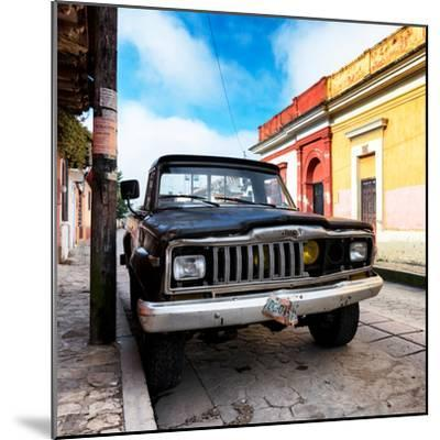 ¡Viva Mexico! Square Collection - Old Jeep in the street of San Cristobal-Philippe Hugonnard-Mounted Photographic Print
