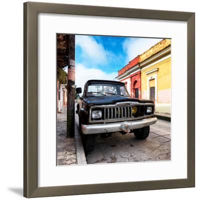 ¡Viva Mexico! Square Collection - Old Jeep in the street of San Cristobal-Philippe Hugonnard-Framed Photographic Print