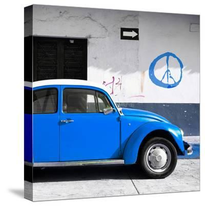 ¡Viva Mexico! Square Collection - Blue VW Beetle Car & Peace Symbol-Philippe Hugonnard-Stretched Canvas Print