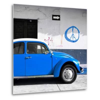 ¡Viva Mexico! Square Collection - Blue VW Beetle Car & Peace Symbol-Philippe Hugonnard-Metal Print