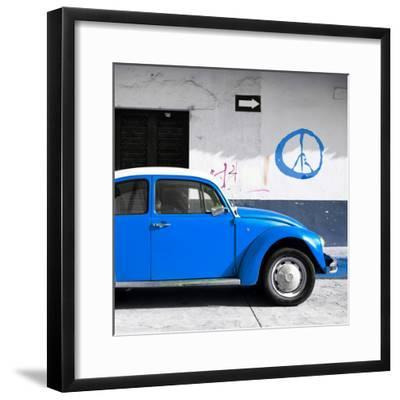 ¡Viva Mexico! Square Collection - Blue VW Beetle Car & Peace Symbol-Philippe Hugonnard-Framed Photographic Print