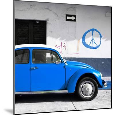 ¡Viva Mexico! Square Collection - Blue VW Beetle Car & Peace Symbol-Philippe Hugonnard-Mounted Photographic Print