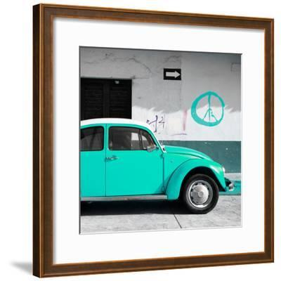 ¡Viva Mexico! Square Collection - Turquoise VW Beetle Car & Peace Symbol-Philippe Hugonnard-Framed Photographic Print
