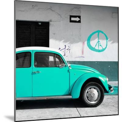 ¡Viva Mexico! Square Collection - Turquoise VW Beetle Car & Peace Symbol-Philippe Hugonnard-Mounted Photographic Print